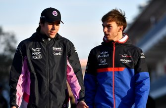 Lance Stroll, Racing Point, and Pierre Gasly, Toro Rosso