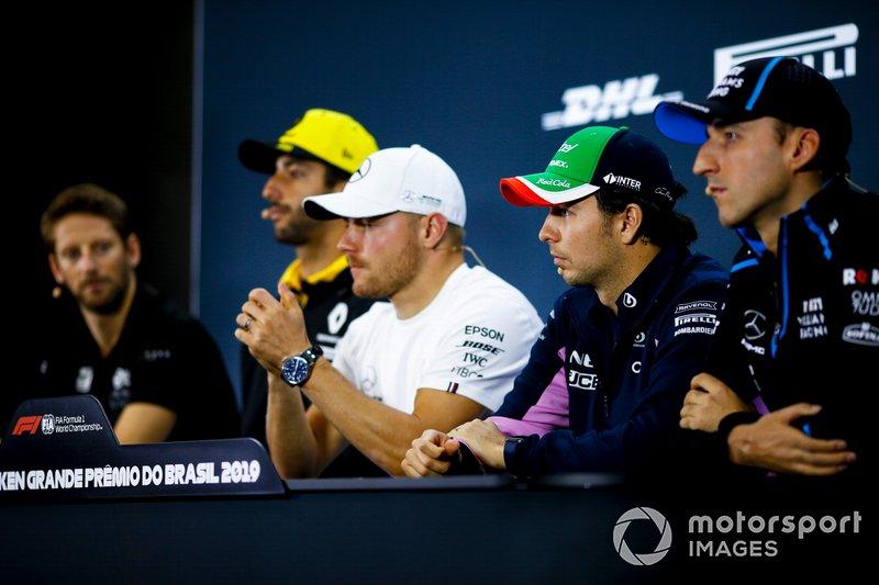 Robert Kubica, Williams Racing, Sergio Perez, Racing Point, Valtteri Bottas, Mercedes AMG F1, Daniel Ricciardo, Renault F1 Team and Romain Grosjean, Haas F1 In the Press Conference