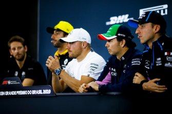 Robert Kubica, Williams Racing, Sergio Perez, Racing Point, Valtteri Bottas, Mercedes AMG F1, Daniel Ricciardo, Renault F1 Team et Romain Grosjean, Haas F1, en conférence de presse