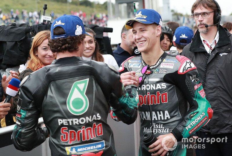 Il secondo qualificato Franco Morbidelli, Petronas Yamaha SRT, il terzo qualificato Fabio Quartararo, Petronas Yamaha SRT