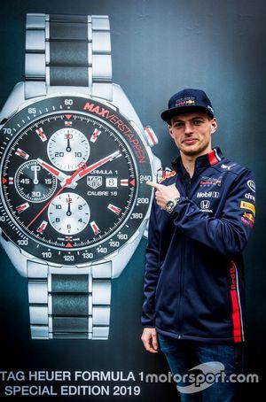 Max Verstappen, Aston Martin Red Bull Racing, bij de presentatie van de TAG Heuer Max Verstappen Special Edition 2019 in Amsterdam