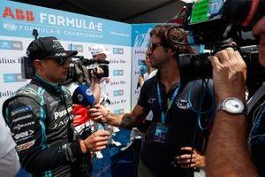 Mitch Evans, Panasonic Jaguar Racing talks to the media