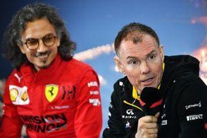Laurent Mekies, directeur sportif Ferrari et Alan Permane, directeur sportif Renault Sport F1 Team lors de la conférence de presse