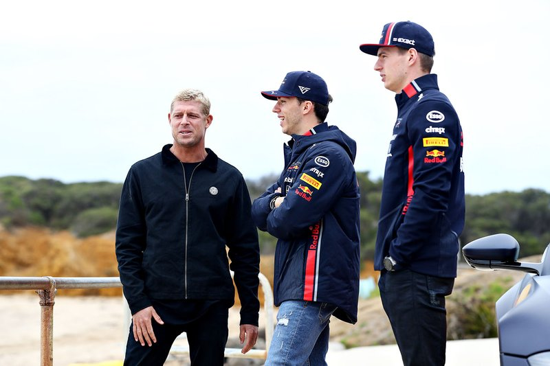Max Verstappen, Red Bull Racing and Pierre Gasly, Red Bull Racing prepare to go surfing with surf legend Mick Fanning