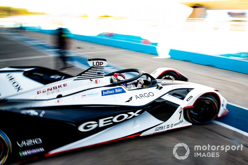 Jose Maria Lopez, GEOX Dragon Racing, Penske EV-3, drives out of the garage