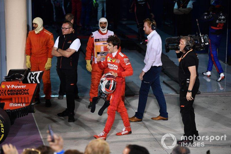 Charles Leclerc, Ferrari, 3° classificato, nel parco chiuso