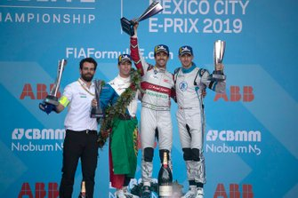 Podium group photo: Race winner Lucas Di Grassi, Audi Sport ABT Schaeffler celebrates on the podium with Antonio Felix da Costa, BMW I Andretti Motorsports, 2nd position, Edoardo Mortara, Venturi Formula E, 3rd position, his race engineer Markus Michelberger