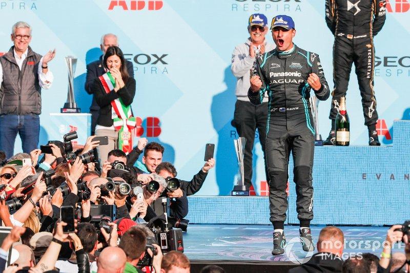 Mitch Evans, Panasonic Jaguar Racing, 1st position, celebrates his maiden victory on the podium
