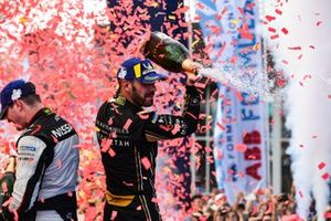 Jean-Eric Vergne, DS TECHEETAH, 1st position, celebrates with Oliver Rowland, Nissan e.Dams, 2nd position,