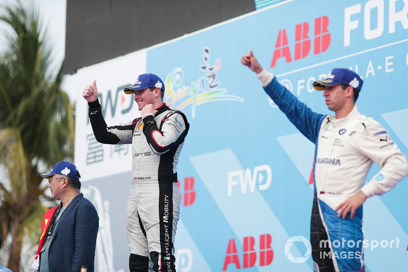 Oliver Rowland, Nissan e.Dams, 2nd position, Antonio Felix da Costa, BMW I Andretti Motorsports, 3rd position, on the podium