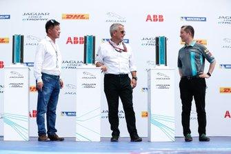 Trophies on the podium