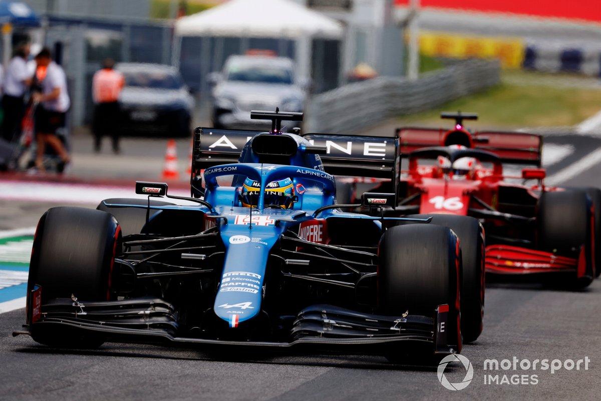Fernando Alonso, Alpine A521, Charles Leclerc, Ferrari SF21