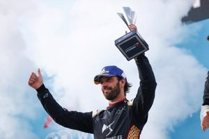 Jean-Eric Vergne, DS Techeetah, second position, on the podium with his trophy