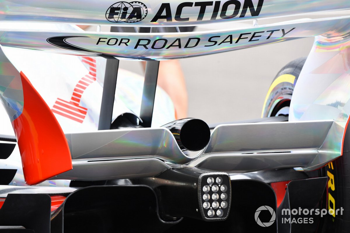 The 2022 Formula 1 car launch event on the Silverstone grid. Rear wing and exhaust detail