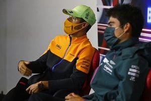 Daniel Ricciardo, McLaren, and Lance Stroll, Aston Martin, in the press conference