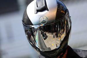 Car of Lewis Hamilton, Mercedes W12 in the helmet of a garage
