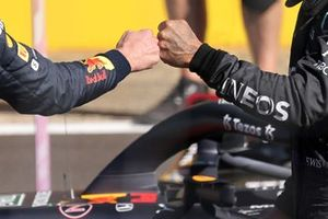 Max Verstappen, Red Bull Racing, 1st position, and Lewis Hamilton, Mercedes, 2nd position, congratulate each other after the Sprint race