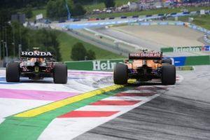Sergio Perez, Red Bull Racing RB16B,Lando Norris, McLaren MCL35M
