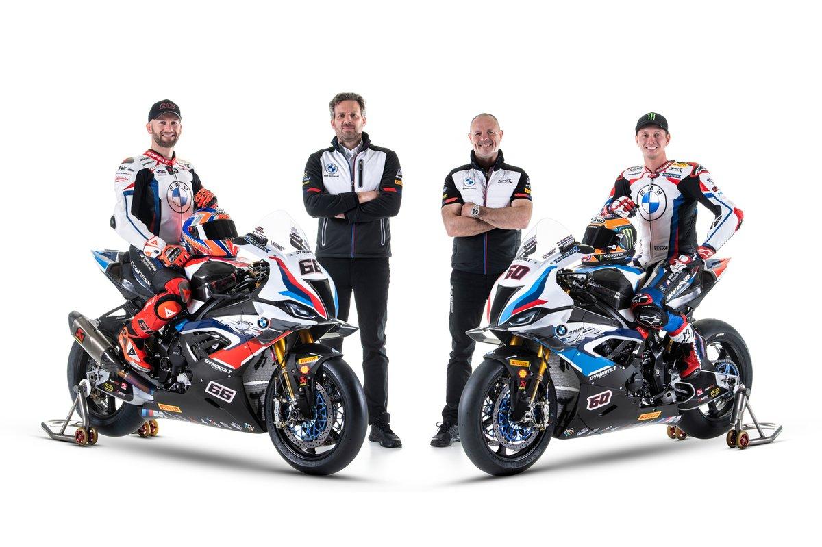 Tom Sykes, BMW Motorrad WorldSBK Team, Michael van der Mark, BMW Motorrad WorldSBK Team with Marc Bongers, BMW Motorrad Motorsport Director, Shaun Muir, Team Principal