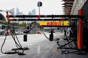 McLaren equipment in the pit lane