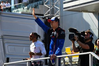 Lewis Hamilton, Mercedes AMG F1, and Daniil Kvyat, Toro Rosso, in the drivers parade