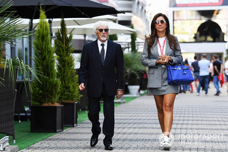 Bernie Ecclestone, Presidente Emiritus de Fórmula 1 y su esposa Fabiana Flosi