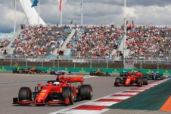 Sebastian Vettel, Ferrari SF90, leads Charles Leclerc, Ferrari SF90, Lewis Hamilton, Mercedes AMG F1 W10, Carlos Sainz Jr., McLaren MCL34, Valtteri Bottas, Mercedes AMG W10 and Lando Norris, McLaren MCL34 at the start