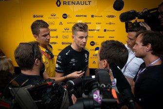 Nico Hulkenberg, Renault F1 Team, talks to media