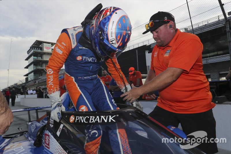 Scott Dixon, Chip Ganassi Racing Honda con el aeroscreen