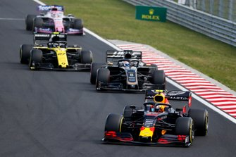 Pierre Gasly, Red Bull Racing RB15, leads Romain Grosjean, Haas F1 Team VF-19, Nico Hulkenberg, Renault F1 Team R.S. 19, and Sergio Perez, Racing Point RP19