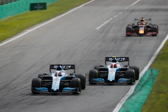 George Russell, Williams Racing FW42, leads Robert Kubica, Williams FW42, and Max Verstappen, Red Bull Racing RB15