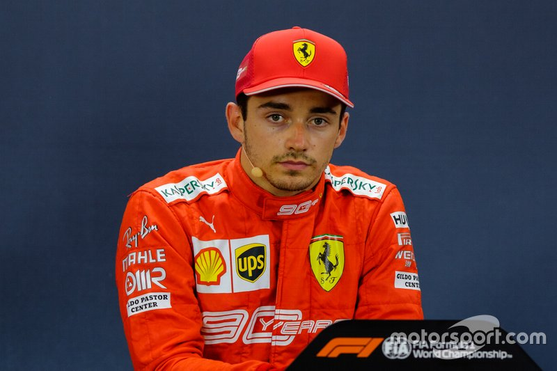 Polesitter Charles Leclerc, Ferrari in the press conference