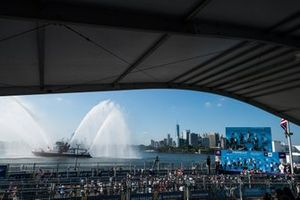 The podium ceremony set against the New York skyline