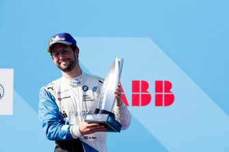 Alexander Sims, BMW I Andretti Motorsports, 2nd position, celebrates on the podium