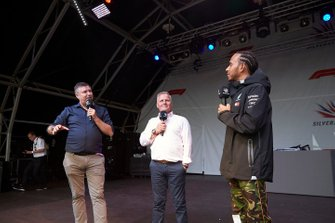 David Croft and Johnny Herbert, Sky Sports F1, with Lewis Hamilton, Mercedes AMG F1, on stage