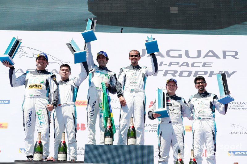 The PRO podium: Race winner Sérgio Jimenez, Jaguar Brazil Racing, Cacá Bueno, Jaguar Brazil Racing, 2nd position, Simon Evans, Team Asia New Zealand, 3rd position stand with the PRO AM podium: Race winner Bandar Alesayi, Saudi Racing, Yaqi Zhang, Team China, 2nd position, Ahmed Bin Khanen, Saudi Racing, 3rd position