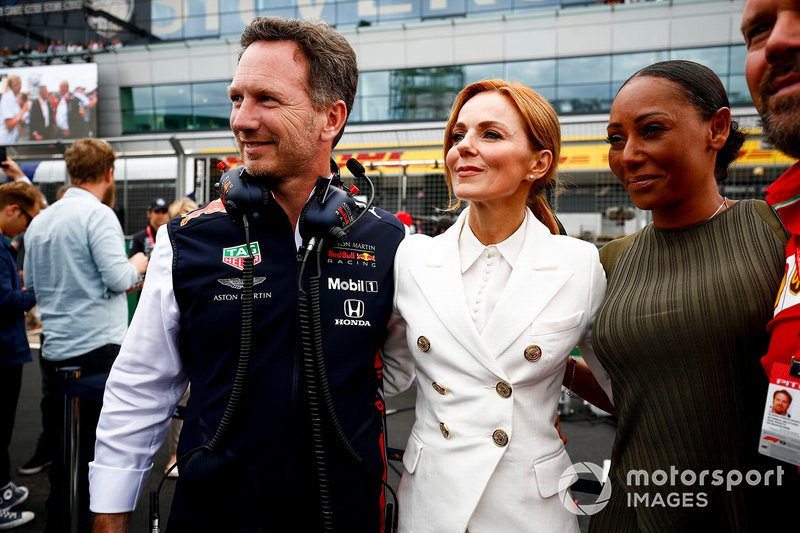Christian Horner, Team Principal, Red Bull Racing, Geri Horner and Melanie Brown on the grid