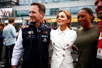 Christian Horner, Team Principal, Red Bull Racing, Geri Horner and Melanie Brown on the grid