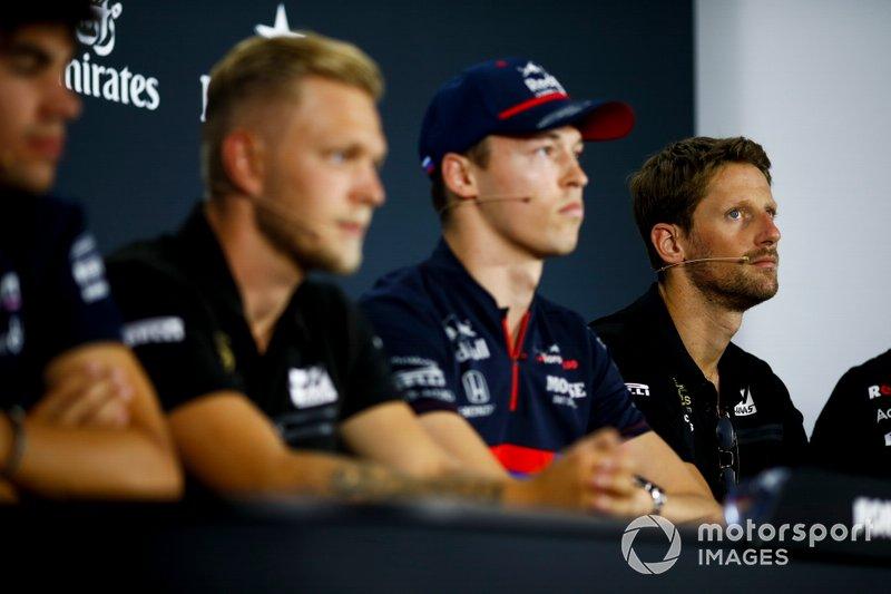 Romain Grosjean, Haas F1, Daniil Kvyat, Toro Rosso, Kevin Magnussen, Haas F1 et Lance Stroll, Racing Point, en conférence de presse