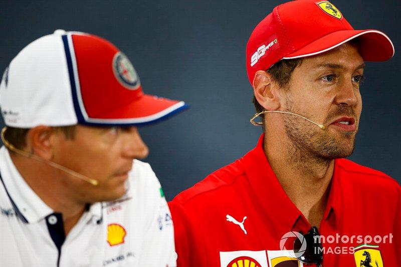 Sebastian Vettel, Ferrari e Kimi Raikkonen, Alfa Romeo Racing, Ferrari, durante la conferenza stampa