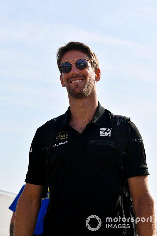 Romain Grosjean, Haas F1, arriva al circuito