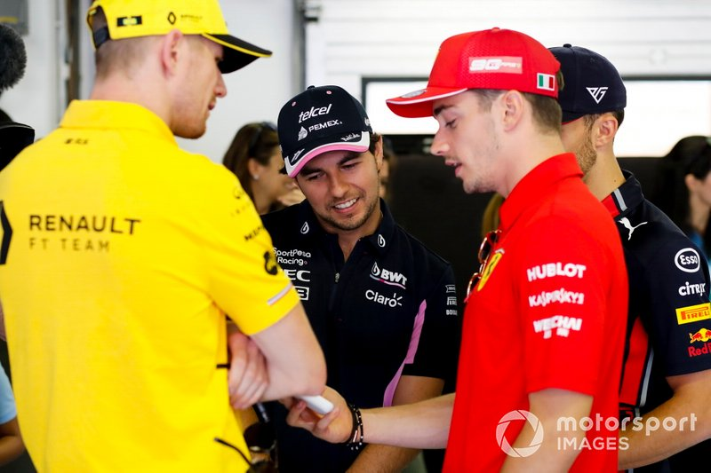 Nico Hulkenberg, Renault F1 Team, Sergio Perez, Racing Point, Pierre Gasly, Red Bull Racing and Charles Leclerc, Ferrari before the drivers parade