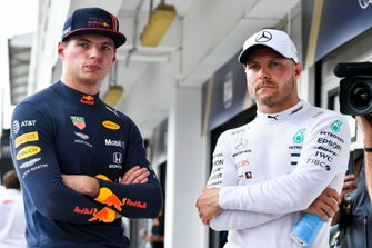 Pole Sitter Max Verstappen, Red Bull Racing and Valtteri Bottas, Mercedes AMG F1 in Parc Ferme