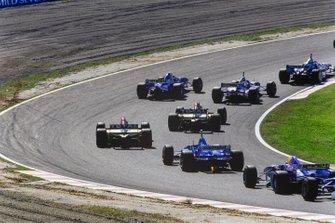 Jean Alesi, Benetton, Jacques Villeneuve, Williams, Heinz-Harald Frentzen, Sauber, Martin Brundle, Jordan, Rubens Barrichello, Jordan, Olivier Panis, Ligier, Johnny Herbert, Sauber