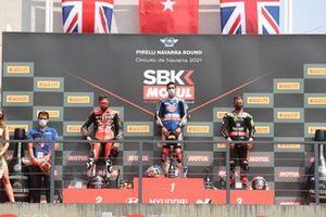 Podio: Scott Redding, Aruba.It Racing - Ducati, Toprak Razgatlioglu, PATA Yamaha WorldSBK Team, Jonathan Rea, Kawasaki Racing Team WorldSBK