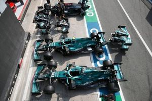 Sebastian Vettel, Aston Martin AMR21 & Lance Stroll, Aston Martin AMR21 cars in pit lane