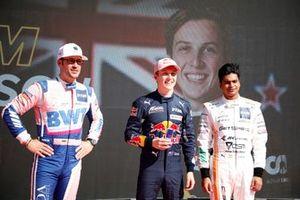 Top 3 after Qualifying, Pole sitter Liam Lawson, AF Corse, Maximilian Götz, Haupt Racing Team, Arjun Maini, GetSpeed Performance