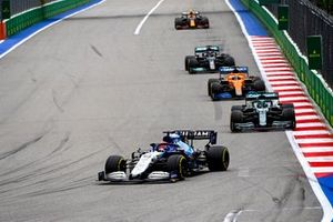 George Russell, Williams FW43B, Lance Stroll, Aston Martin AMR21, and Daniel Ricciardo, McLaren MCL35M