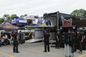 Nascar Pinty's car being unloaded