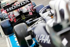 Car of Max Verstappen, Red Bull Racing RB16B car in pit lane
